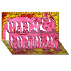 Patterned Pig Happy Birthday 3d Greeting Card (8x4)