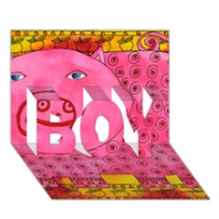 Patterned Pig BOY 3D Greeting Card (7x5)