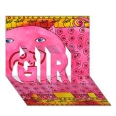 Patterned Pig GIRL 3D Greeting Card (7x5)