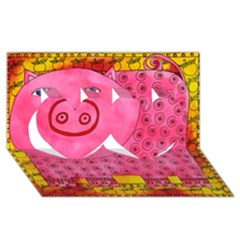 Patterned Pig Twin Hearts 3D Greeting Card (8x4)