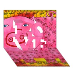 Patterned Pig LOVE 3D Greeting Card (7x5)