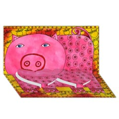 Patterned Pig Twin Heart Bottom 3d Greeting Card (8x4)
