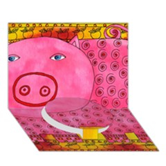 Patterned Pig Circle Bottom 3D Greeting Card (7x5)