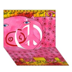 Patterned Pig Peace Sign 3D Greeting Card (7x5)