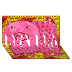 Patterned Pig BEST BRO 3D Greeting Card (8x4)