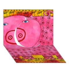Patterned Pig Circle 3D Greeting Card (7x5)