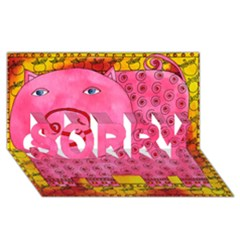 Patterned Pig Sorry 3d Greeting Card (8x4)