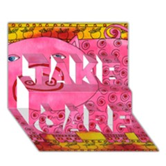Patterned Pig TAKE CARE 3D Greeting Card (7x5)