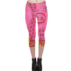 Patterned Pig Capri Leggings