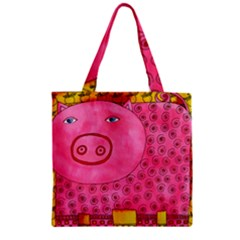 Patterned Pig Zipper Grocery Tote Bags