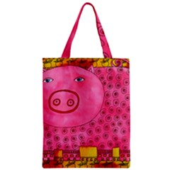 Patterned Pig Zipper Classic Tote Bags