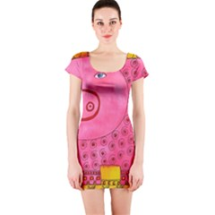Patterned Pig Short Sleeve Bodycon Dresses