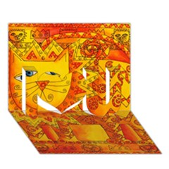 Patterned Lion I Love You 3d Greeting Card (7x5)