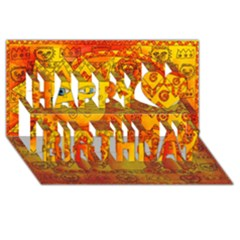 Patterned Lion Happy Birthday 3d Greeting Card (8x4)