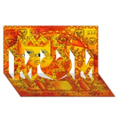 Patterned Lion MOM 3D Greeting Card (8x4)