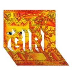Patterned Lion Girl 3d Greeting Card (7x5)