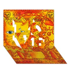 Patterned Lion LOVE 3D Greeting Card (7x5)
