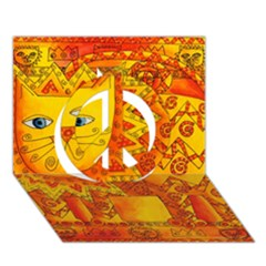 Patterned Lion Peace Sign 3d Greeting Card (7x5)