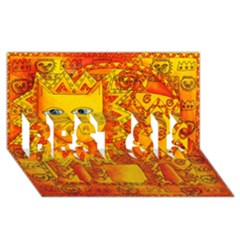 Patterned Lion BEST SIS 3D Greeting Card (8x4)