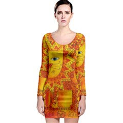 Patterned Lion Long Sleeve Bodycon Dresses
