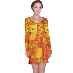 Patterned Lion Long Sleeve Nightdresses