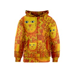 Patterned Lion Kids Zipper Hoodies