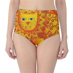 Patterned Lion High-Waist Bikini Bottoms