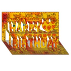 Patterned Leopard Happy Birthday 3D Greeting Card (8x4)