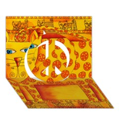 Patterned Leopard Peace Sign 3D Greeting Card (7x5)