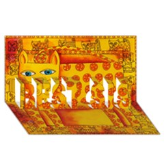 Patterned Leopard Best Sis 3d Greeting Card (8x4)
