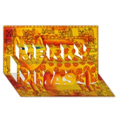 Patterned Leopard Merry Xmas 3D Greeting Card (8x4)