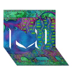 Patterned Hippo I Love You 3d Greeting Card (7x5)