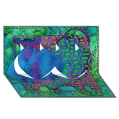 Patterned Hippo Twin Hearts 3D Greeting Card (8x4)