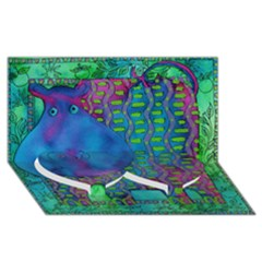 Patterned Hippo Twin Heart Bottom 3D Greeting Card (8x4)