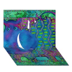 Patterned Hippo Apple 3D Greeting Card (7x5)