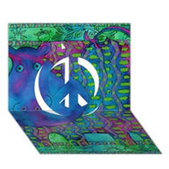 Patterned Hippo Peace Sign 3D Greeting Card (7x5)