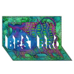 Patterned Hippo Best Bro 3d Greeting Card (8x4)