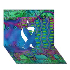 Patterned Hippo Ribbon 3d Greeting Card (7x5)