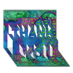 Patterned Hippo THANK YOU 3D Greeting Card (7x5)