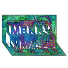 Patterned Hippo Merry Xmas 3d Greeting Card (8x4)