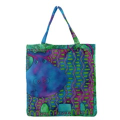 Patterned Hippo Grocery Tote Bags