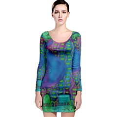 Patterned Hippo Long Sleeve Bodycon Dresses