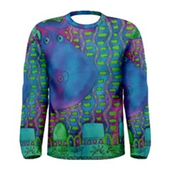 Patterned Hippo Men s Long Sleeve T-shirts