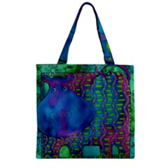 Patterned Hippo Zipper Grocery Tote Bags