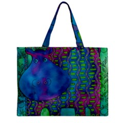Patterned Hippo Zipper Tiny Tote Bags