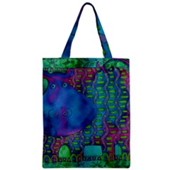 Patterned Hippo Zipper Classic Tote Bags
