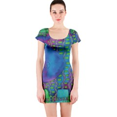 Patterned Hippo Short Sleeve Bodycon Dresses