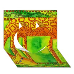 Patterned Giraffe  Heart 3D Greeting Card (7x5)
