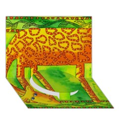 Patterned Giraffe  Circle Bottom 3D Greeting Card (7x5)
