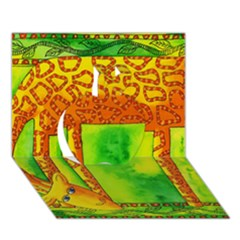 Patterned Giraffe  Apple 3D Greeting Card (7x5)